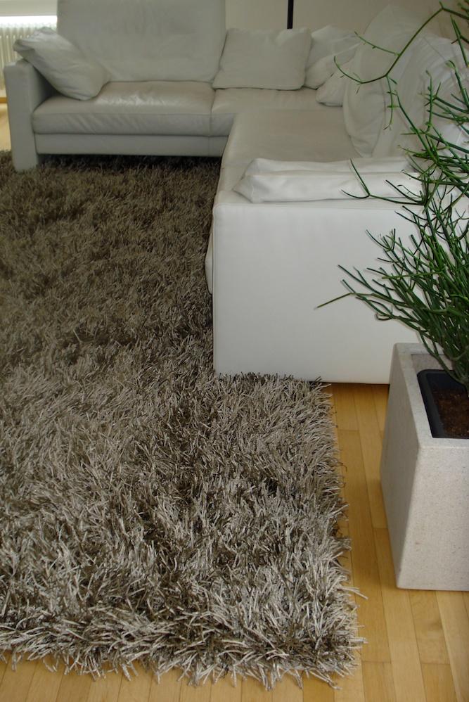 Ein kuscheliger Hochfloor-Teppich in Schlammfarben für den Wohnbereich.